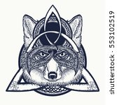 fox viking in the celtic style  ... | Shutterstock .eps vector #553102519