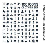 clothes 100 icon set on white... | Shutterstock .eps vector #553109821