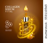vital serum golden dropper... | Shutterstock .eps vector #553110565