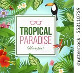 tropical paradise label over...   Shutterstock .eps vector #553110739