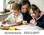 family spend time happiness... | Shutterstock . vector #553113097