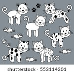 vector collection of cute and... | Shutterstock .eps vector #553114201