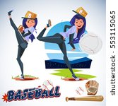 cute female baseball player in... | Shutterstock .eps vector #553115065