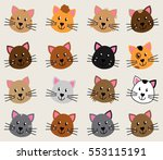 vector collection of cute and... | Shutterstock .eps vector #553115191