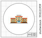 three storied school building... | Shutterstock .eps vector #553121959