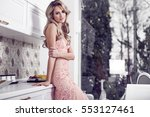 beautiful elegant woman in... | Shutterstock . vector #553127461