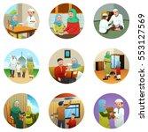 a vector illustration of muslim ... | Shutterstock .eps vector #553127569