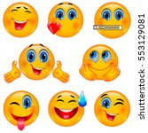 set of beautiful smiley faces   ... | Shutterstock .eps vector #553129081