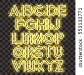 glowing yellow neon alphabet... | Shutterstock .eps vector #553132771