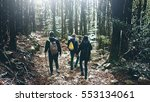 group of hikers with backpack... | Shutterstock . vector #553134061