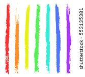 vector set of colorful brush... | Shutterstock .eps vector #553135381