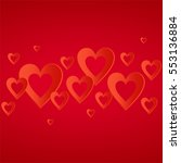 valentines red background with... | Shutterstock .eps vector #553136884