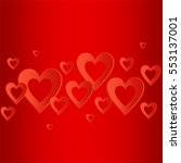 valentines red background with... | Shutterstock .eps vector #553137001