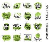 vector eco  organic  bio logos... | Shutterstock .eps vector #553137427