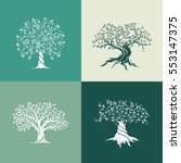 olive trees silhouette icon set ... | Shutterstock .eps vector #553147375