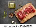 raw meat with olive oil  spices ... | Shutterstock . vector #553148071
