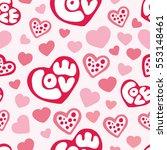 hearts seamless pattern... | Shutterstock .eps vector #553148461