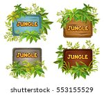wood board and leaves with... | Shutterstock .eps vector #553155529