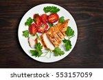 sliced roasted chicken breast...   Shutterstock . vector #553157059