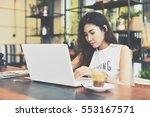 asian beautiful women working... | Shutterstock . vector #553167571