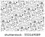 kitchen objects pattern.... | Shutterstock .eps vector #553169089