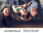 family spend time happiness... | Shutterstock . vector #553170139