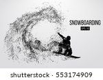silhouette of a snowboarder... | Shutterstock .eps vector #553174909