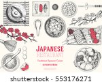 japan food menu restaurant.... | Shutterstock .eps vector #553176271