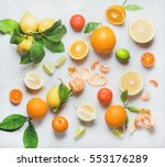 variety of fresh citrus fruits... | Shutterstock . vector #553176289