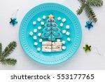homemade christmas tree cookie  ...   Shutterstock . vector #553177765