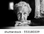 grandma. closeup black and... | Shutterstock . vector #553180339