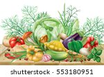 various vegetables and spices... | Shutterstock .eps vector #553180951