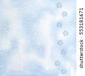 animal foot prints to a snowy.... | Shutterstock .eps vector #553181671