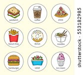 set of fast food icons. drinks  ... | Shutterstock .eps vector #553182985