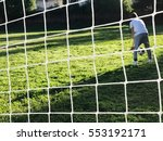 a goalkeeper boy in front of a...   Shutterstock . vector #553192171