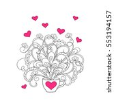 hand drawn doodle cup with... | Shutterstock .eps vector #553194157