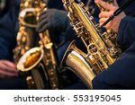 saxophones of a town band... | Shutterstock . vector #553195045