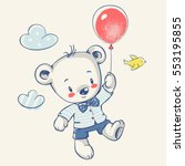 cute bear flying on a balloon... | Shutterstock .eps vector #553195855
