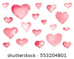 cute hearts. watercolor... | Shutterstock . vector #553204801