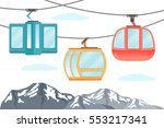 funicular railway . ski cable... | Shutterstock .eps vector #553217341