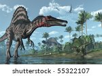 A tropical prehistoric scene with several dinosaurs, including two spinosauruses, a psittacosaurus and two dorygnathuses in flight. 3D render - stock photo