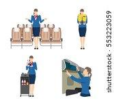 stewardess serves passengers on ... | Shutterstock .eps vector #553223059
