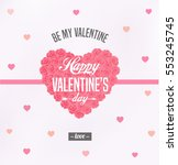 happy valentines day card with... | Shutterstock .eps vector #553245745