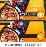 restaurant gift voucher flyer... | Shutterstock . vector #553267414