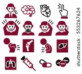 office syndrome  sick icons set | Shutterstock .eps vector #553267624