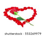 Single Red Rose And Red Heart...