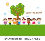 cute children and tree | Shutterstock .eps vector #553277659
