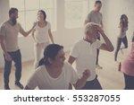 diversity people exercise class ... | Shutterstock . vector #553287055