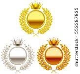crown. gold medal. silver medal....   Shutterstock .eps vector #553287835