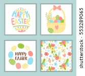 set of cute easter greeting... | Shutterstock .eps vector #553289065